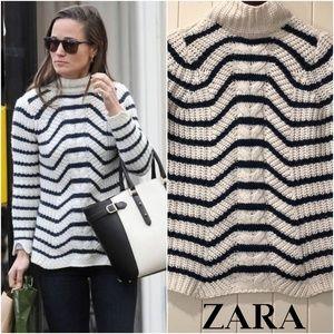 ZARA White w/Navy stripes sweater ASO Pippa Sz S